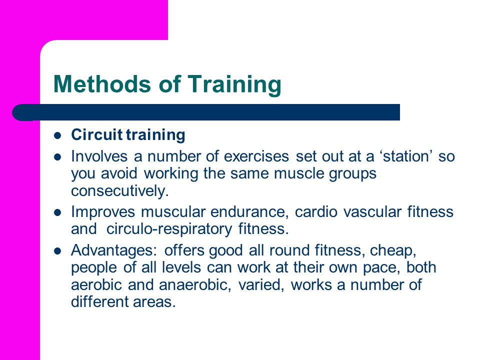 Methods of Training Circuit training