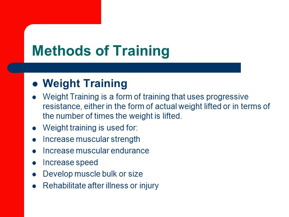 Methods of Training Weight Training