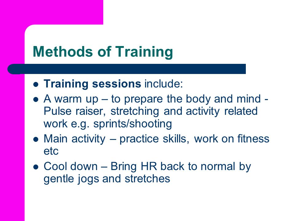 Methods of Training Training sessions include: