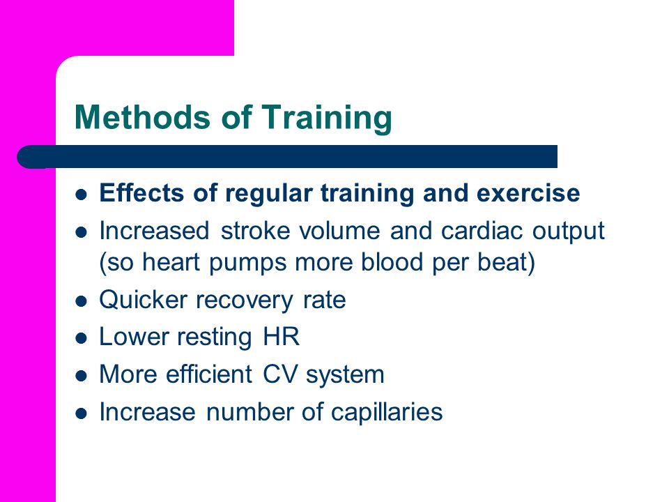 Methods of Training Effects of regular training and exercise