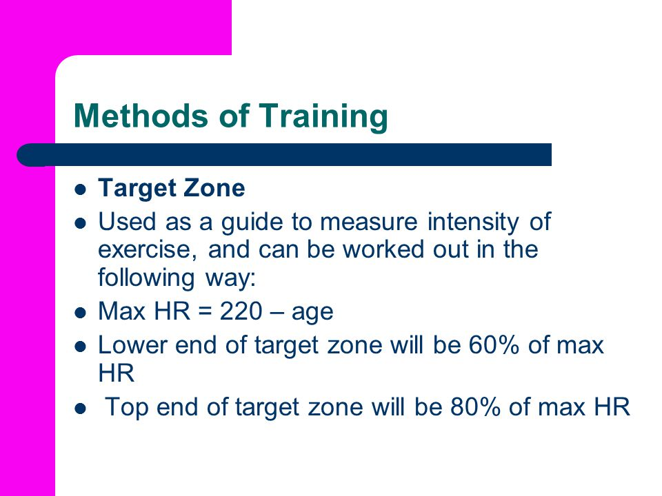 Methods of Training Target Zone