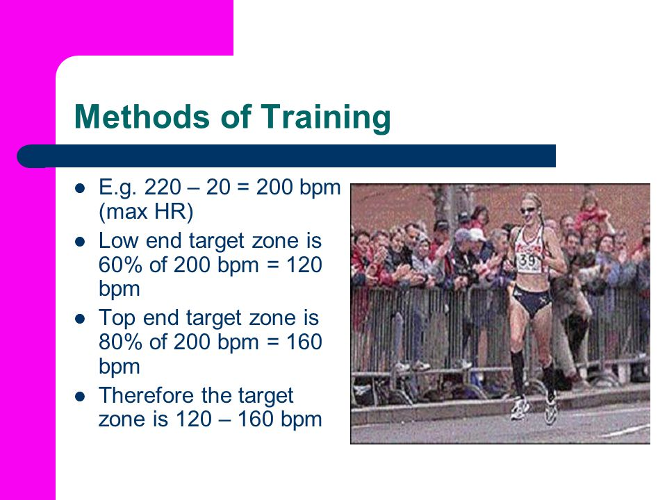 Methods of Training E.g. 220 – 20 = 200 bpm (max HR)