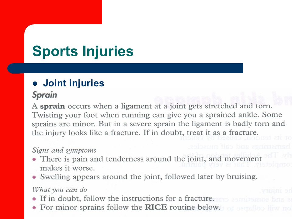 Sports Injuries Joint injuries