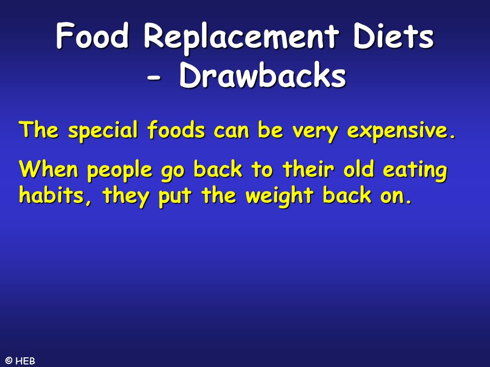 Food Replacement Diets - Drawbacks