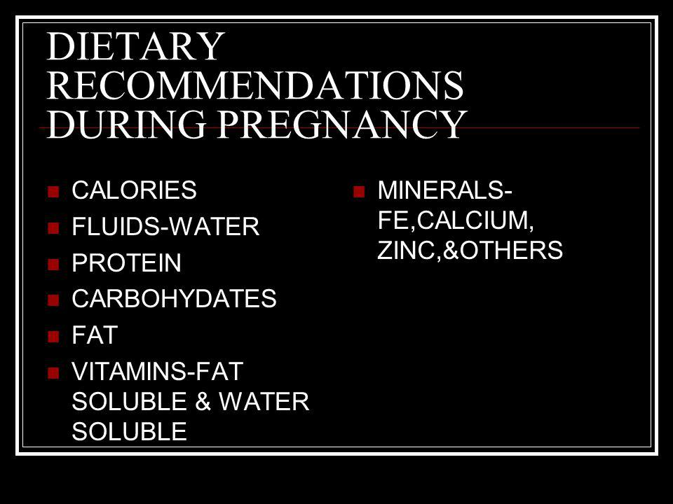 DIETARY RECOMMENDATIONS DURING PREGNANCY