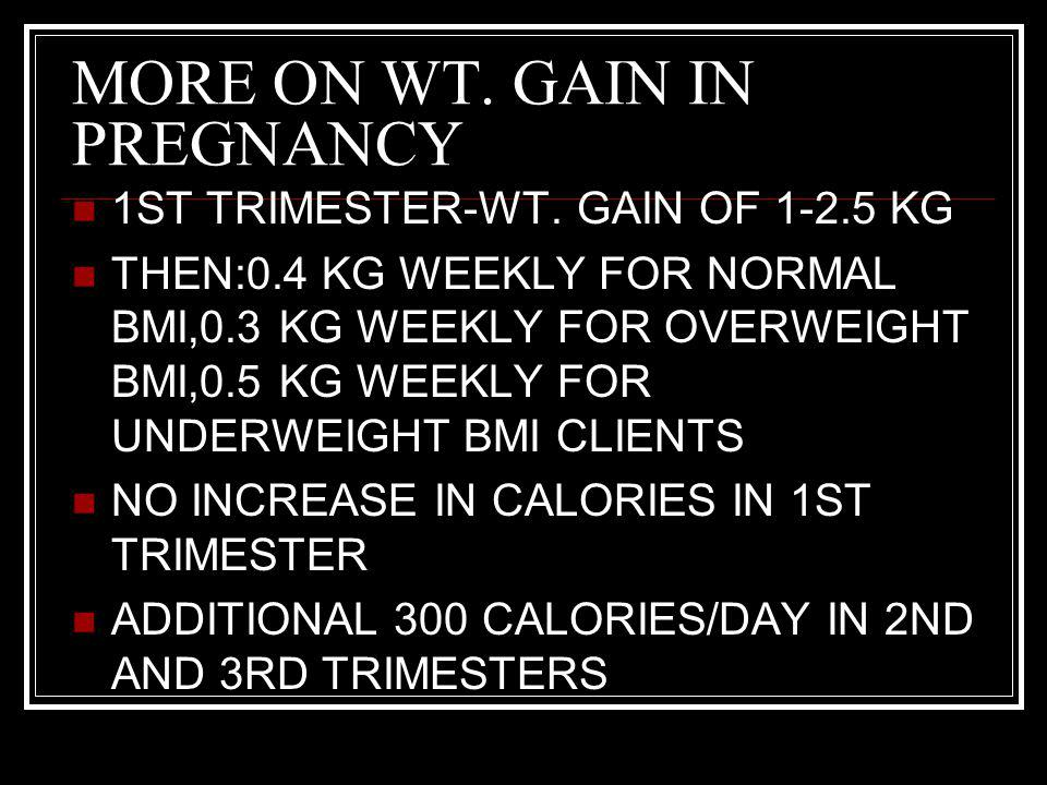 MORE ON WT. GAIN IN PREGNANCY