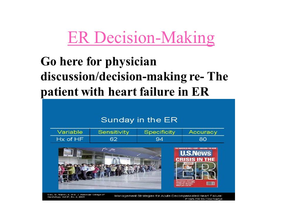 ER Decision-Making Go here for physician discussion/decision-making re- The patient with heart failure in ER.