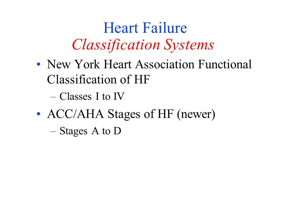 Heart Failure Classification Systems