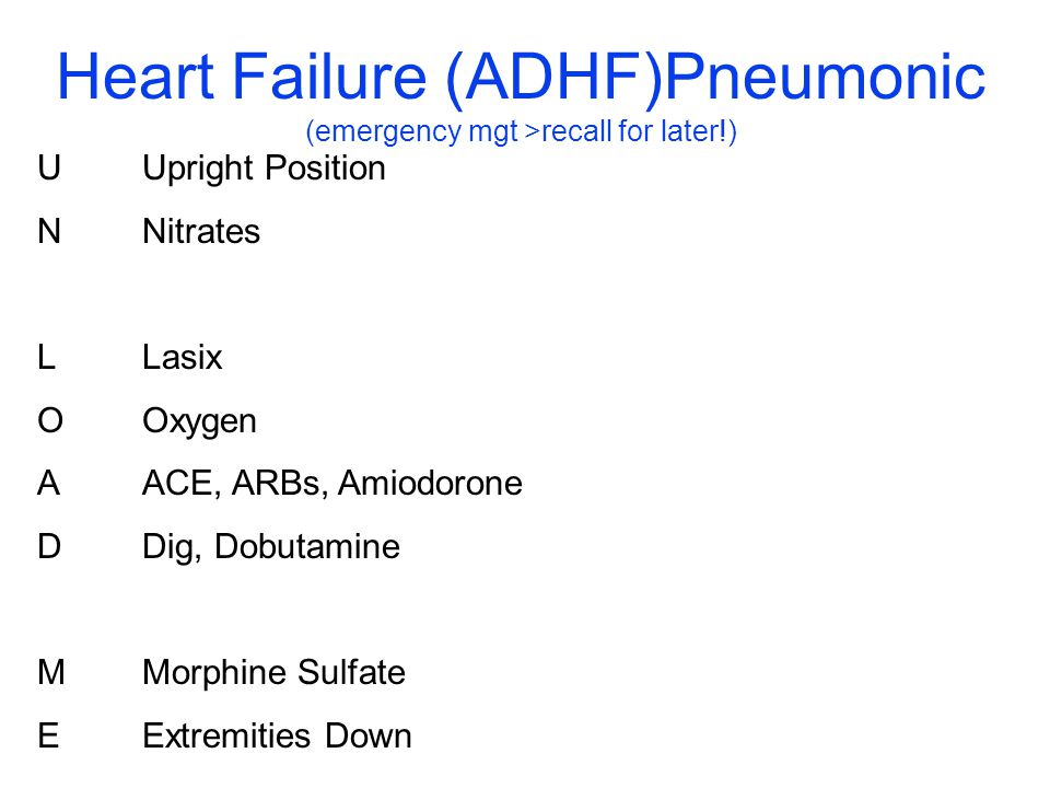 Heart Failure (ADHF)Pneumonic (emergency mgt >recall for later!)