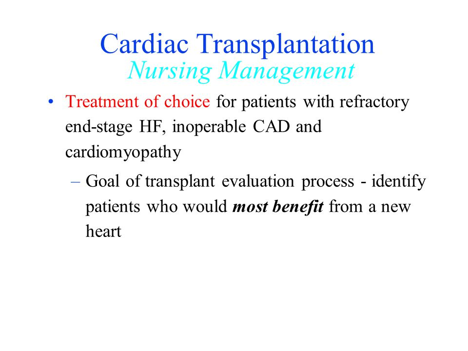 Cardiac Transplantation Nursing Management