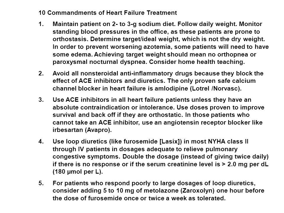 10 Commandments of Heart Failure Treatment