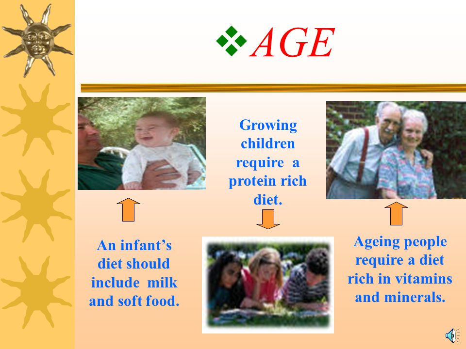 AGE Growing children require a protein rich diet.