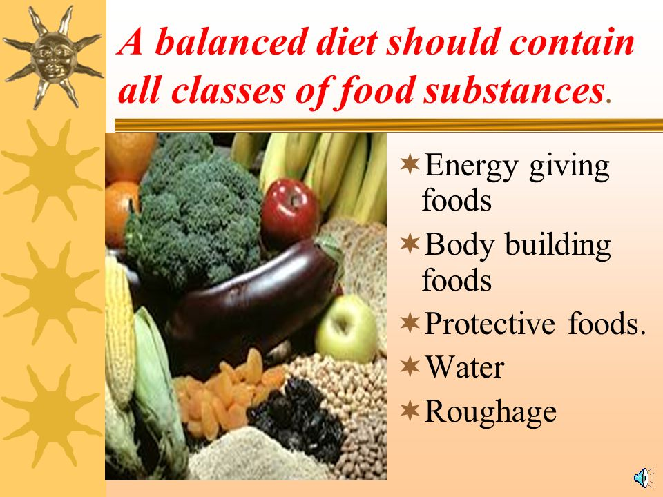 A balanced diet should contain all classes of food substances.