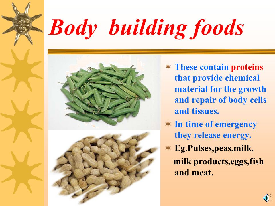 Body building foods These contain proteins that provide chemical material for the growth and repair of body cells and tissues.