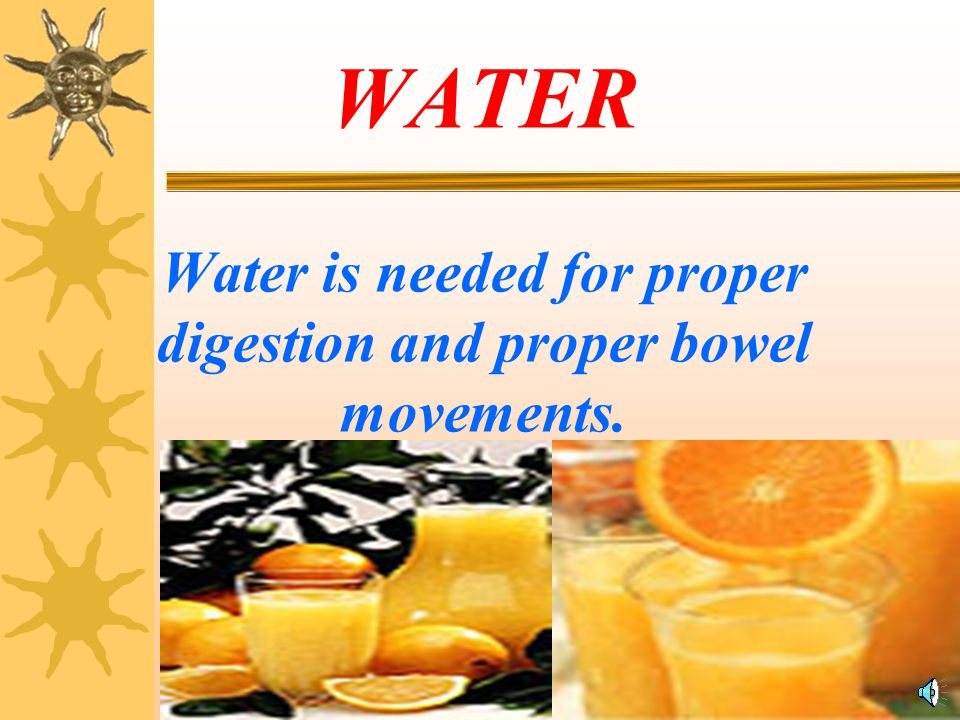 WATER Water is needed for proper digestion and proper bowel movements.