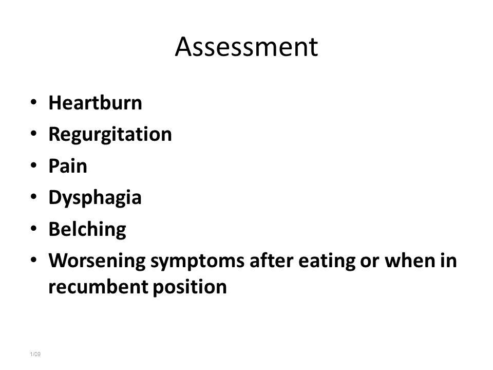 Assessment Heartburn Regurgitation Pain Dysphagia Belching