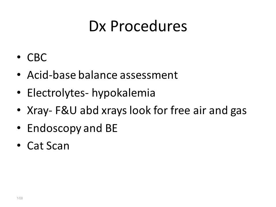 Dx Procedures CBC Acid-base balance assessment