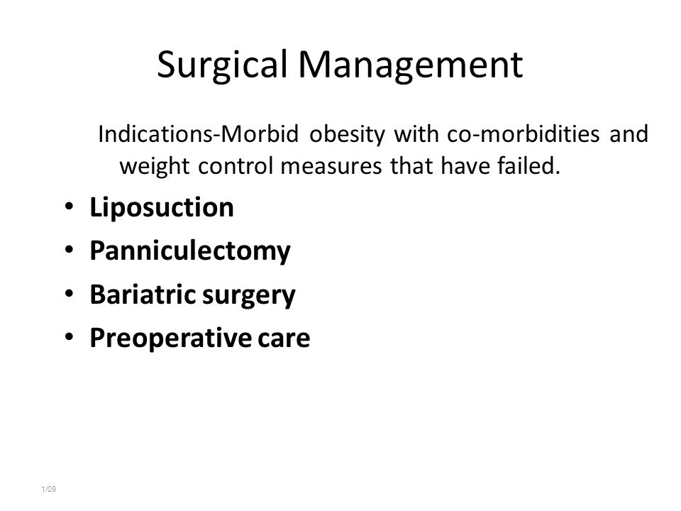 Surgical Management Liposuction Panniculectomy Bariatric surgery