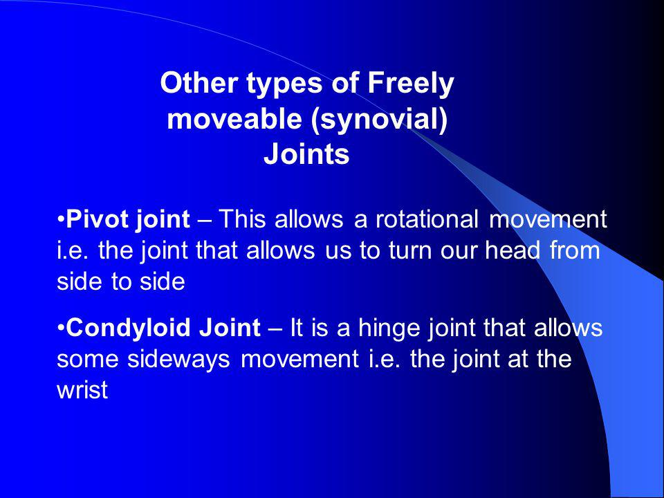 Other types of Freely moveable (synovial) Joints