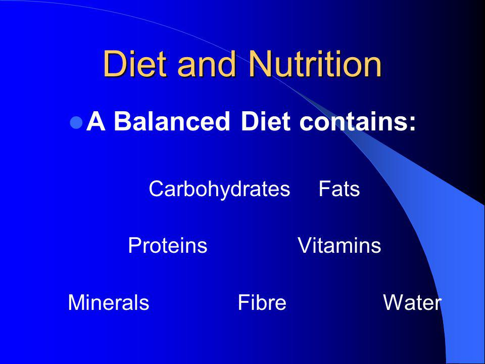 A Balanced Diet contains: