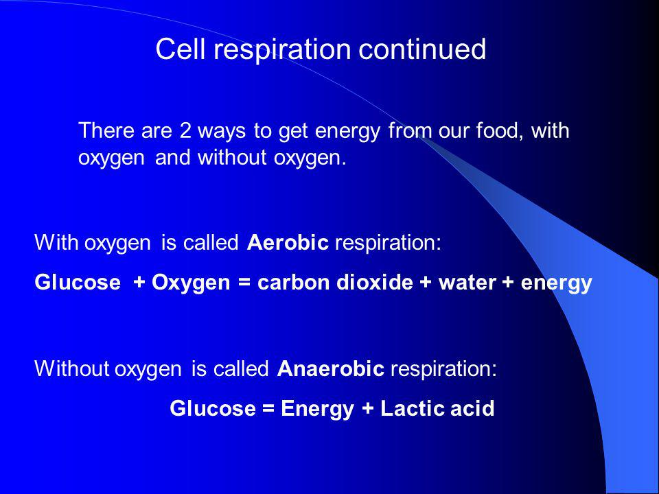 Glucose = Energy + Lactic acid
