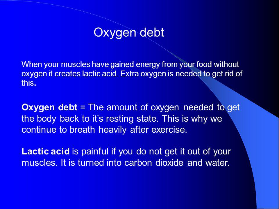 Oxygen debt When your muscles have gained energy from your food without oxygen it creates lactic acid. Extra oxygen is needed to get rid of this.