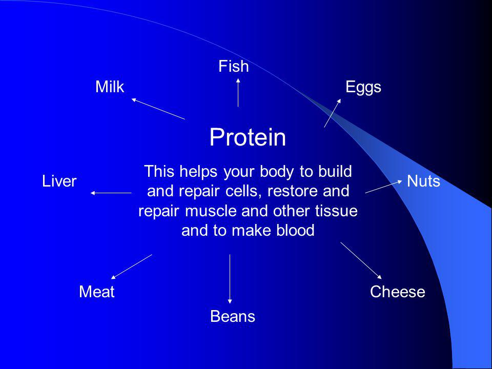 Fish Milk. Eggs. Protein. This helps your body to build and repair cells, restore and repair muscle and other tissue and to make blood.