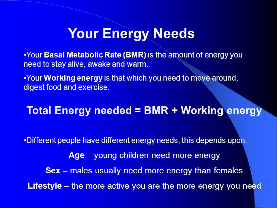 Total Energy needed = BMR + Working energy