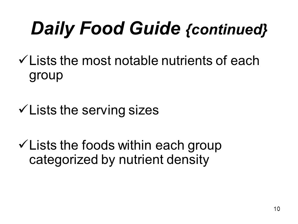Daily Food Guide {continued}