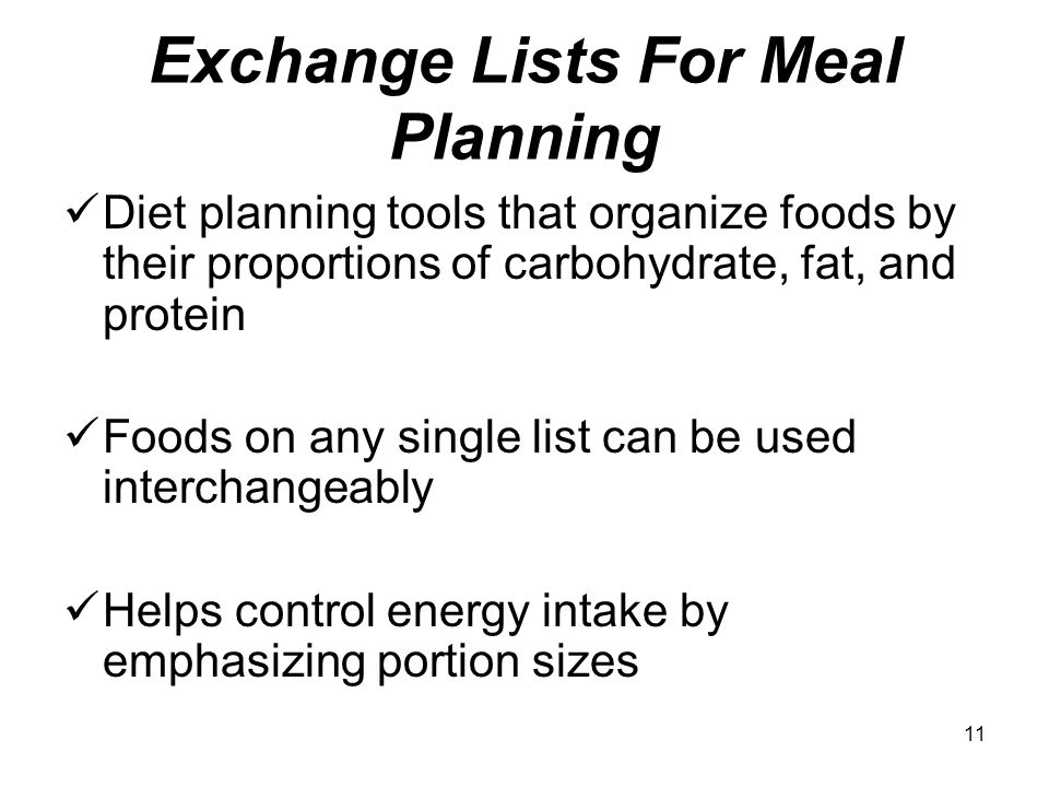 Exchange Lists For Meal Planning