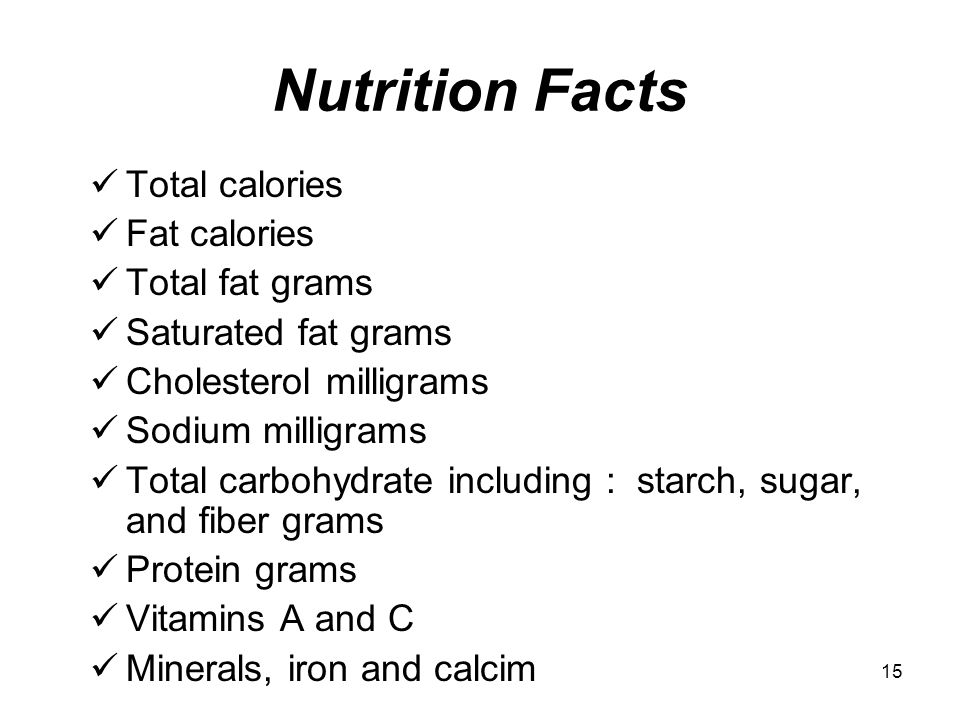Nutrition Facts Total calories Fat calories Total fat grams