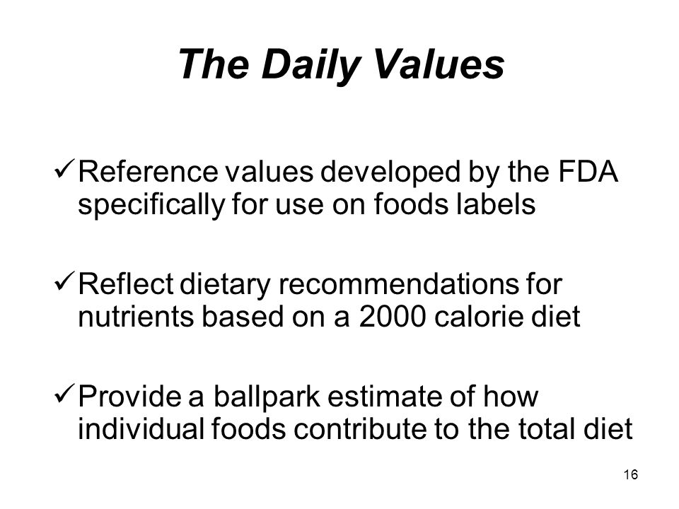 The Daily Values Reference values developed by the FDA specifically for use on foods labels.