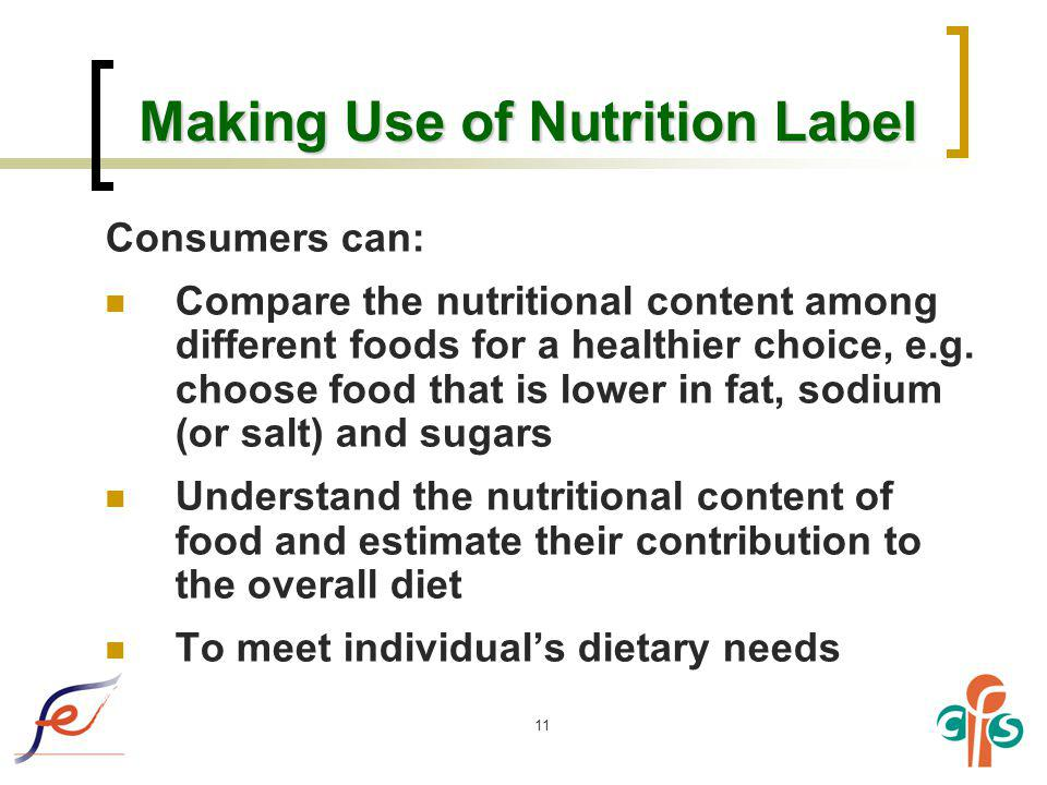 Making Use of Nutrition Label