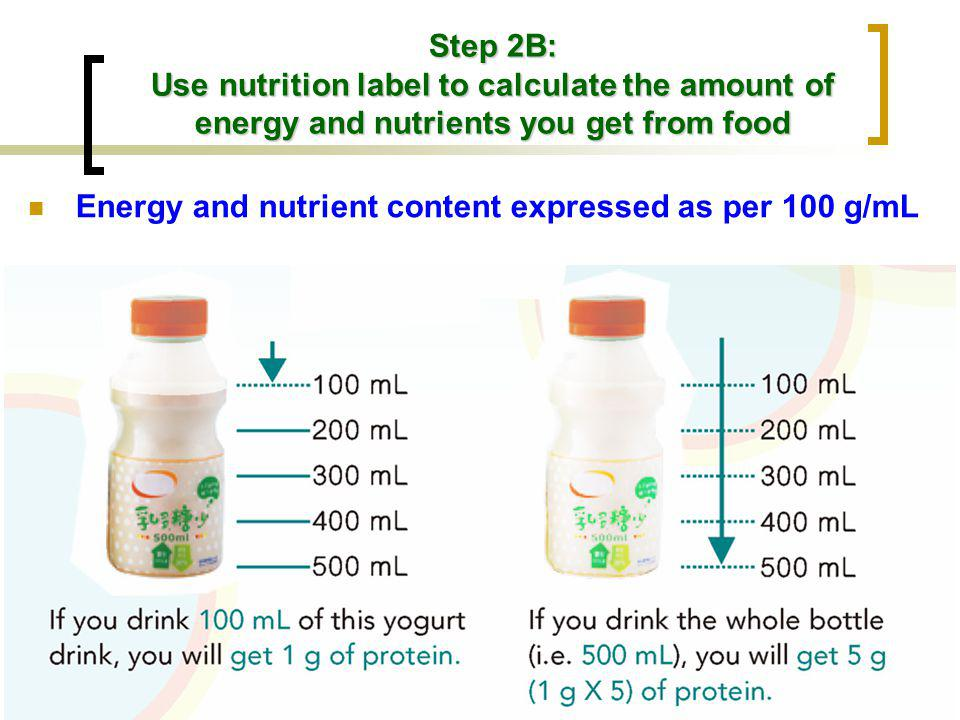 Step 2B: Use nutrition label to calculate the amount of energy and nutrients you get from food