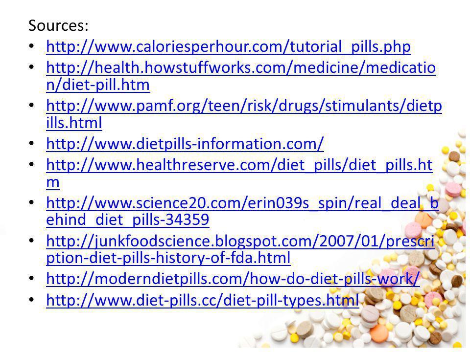 Sources: http://www.caloriesperhour.com/tutorial_pills.php. http://health.howstuffworks.com/medicine/medication/diet-pill.htm.