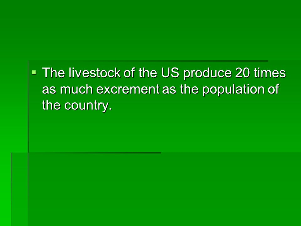 The livestock of the US produce 20 times as much excrement as the population of the country.