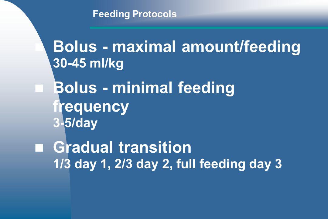 Bolus - maximal amount/feeding 30-45 ml/kg