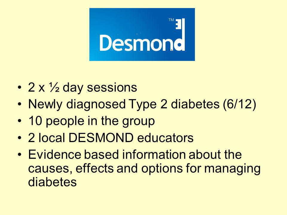 Newly diagnosed Type 2 diabetes (6/12) 10 people in the group