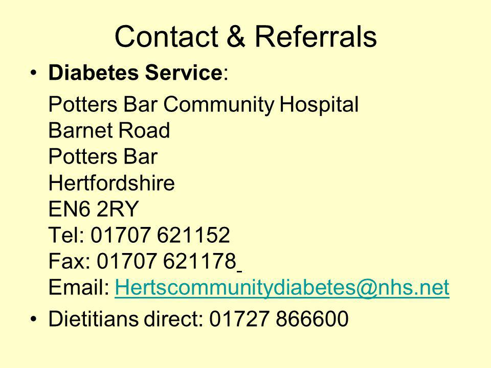 Contact & Referrals Diabetes Service: