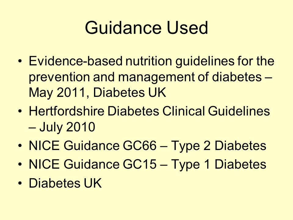 Guidance Used Evidence-based nutrition guidelines for the prevention and management of diabetes – May 2011, Diabetes UK.