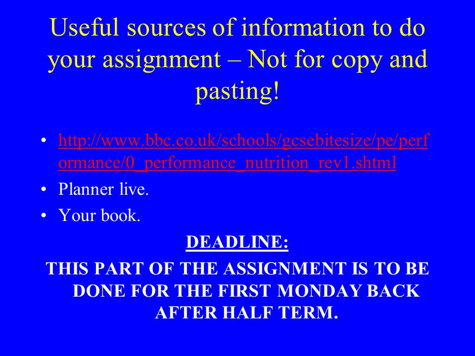Useful sources of information to do your assignment – Not for copy and pasting!