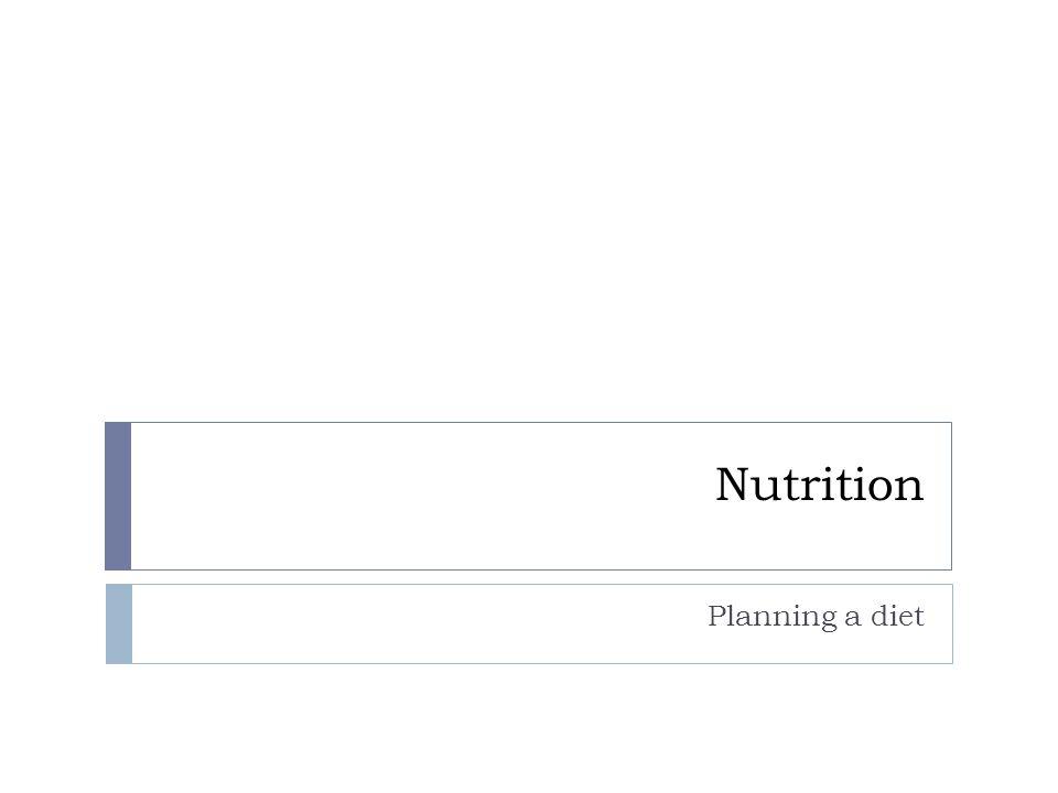 Nutrition Planning a diet