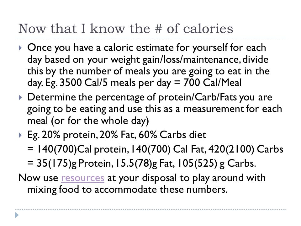 Now that I know the # of calories