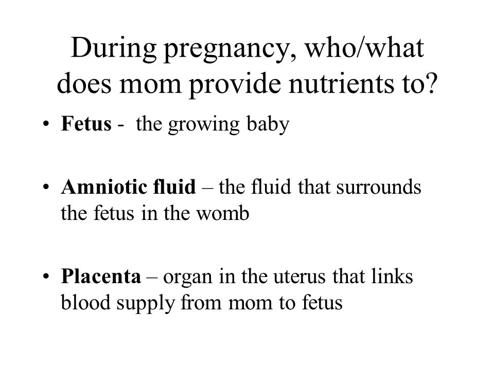 During pregnancy, who/what does mom provide nutrients to