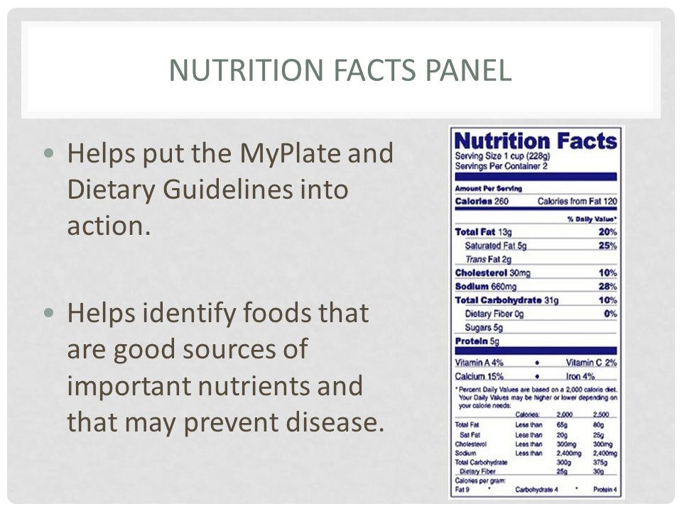 Nutrition Facts Panel Helps put the MyPlate and Dietary Guidelines into action.