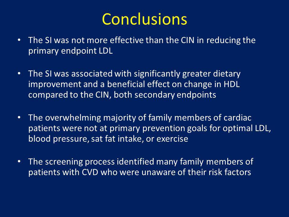 Conclusions The SI was not more effective than the CIN in reducing the primary endpoint LDL.