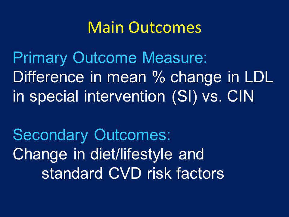 Main Outcomes Primary Outcome Measure: Difference in mean % change in LDL in special intervention (SI) vs. CIN.