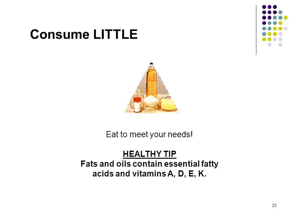 Consume LITTLE Eat to meet your needs.