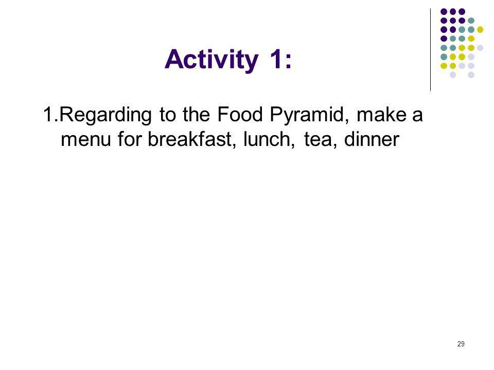 Activity 1: 1.Regarding to the Food Pyramid, make a menu for breakfast, lunch, tea, dinner