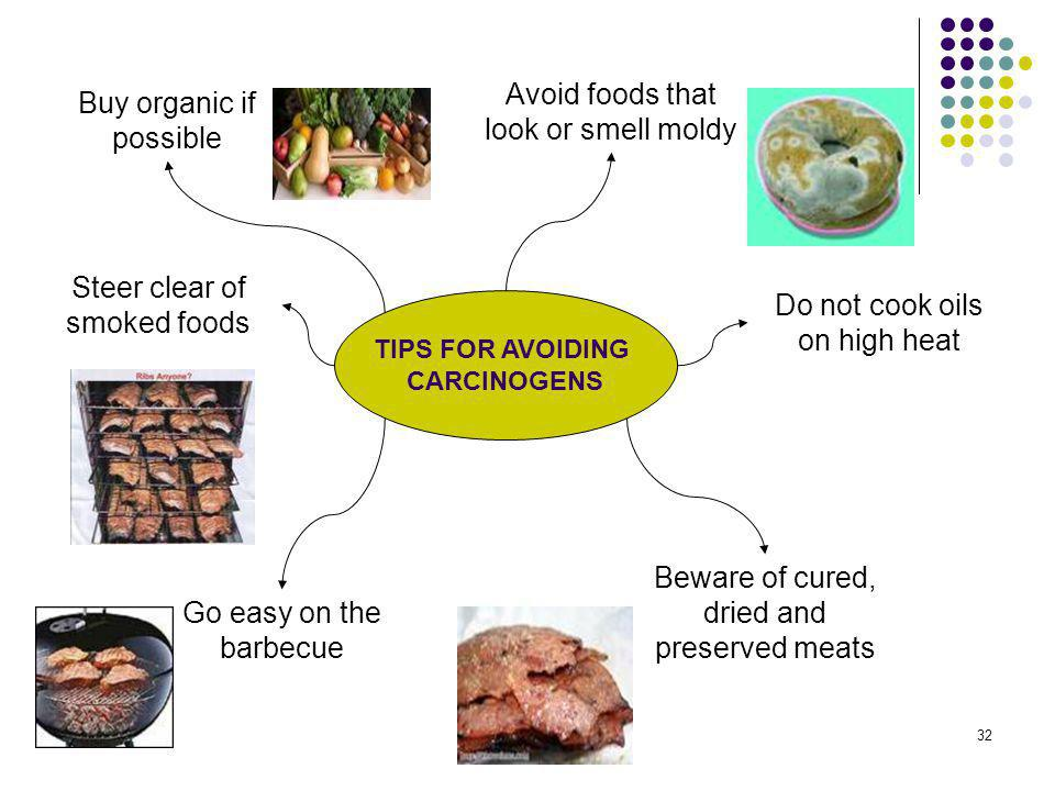 Avoid foods that look or smell moldy Buy organic if possible